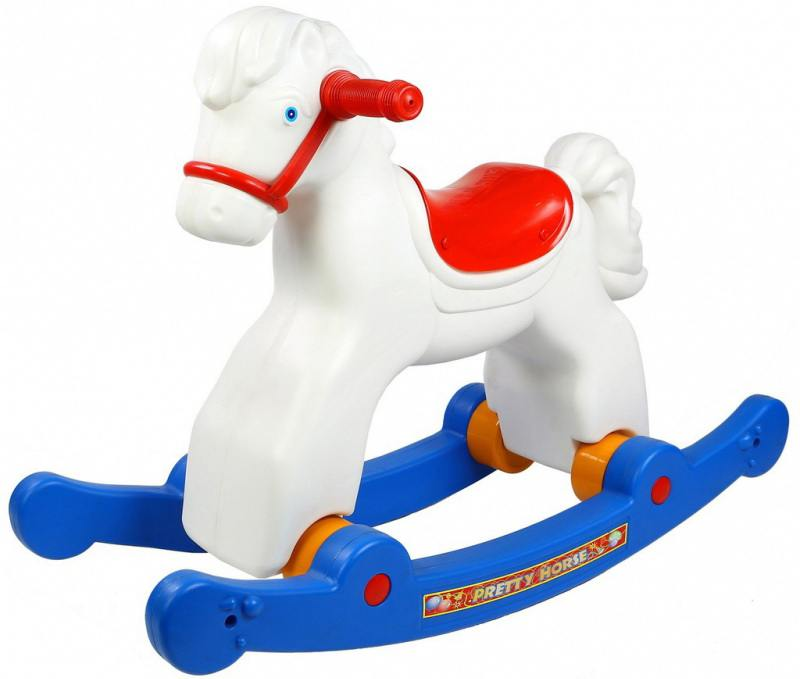 Каталка-качалка R-Toys Лошадка-трансформер пластик от 8 месяцев на колесах белый ОР146в2 каталка на палочке s s toys вертолет желтый от 1 года пластик