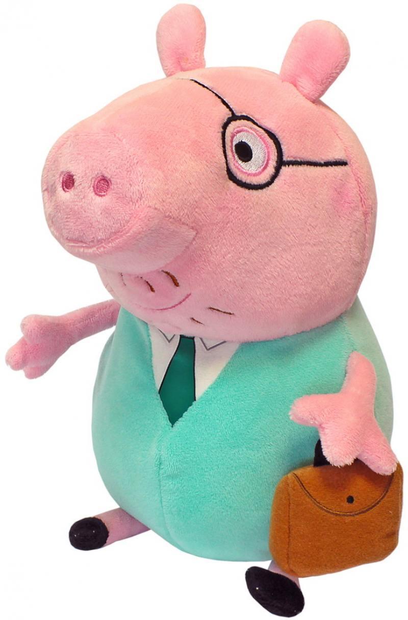 Мягкая игрушка свинка Peppa Pig Папа свин с кейсом 30 см