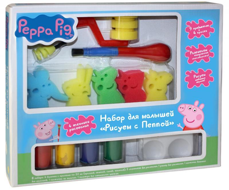 Набор для малышей Peppa Pig Рисуем с Пеппой пазл росмэн росмэн коврик пазл peppa pig учим азбуку с пеппой 36 деталей