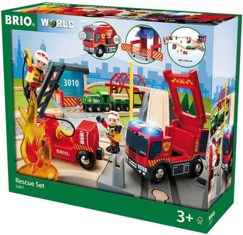 Игровой набор Brio ж/д Пожарная команда спасателей,свет,звук,30 предм.,45х16х39см,кор. brio игровой набор brio полицейский участок свет звук 6 элементов
