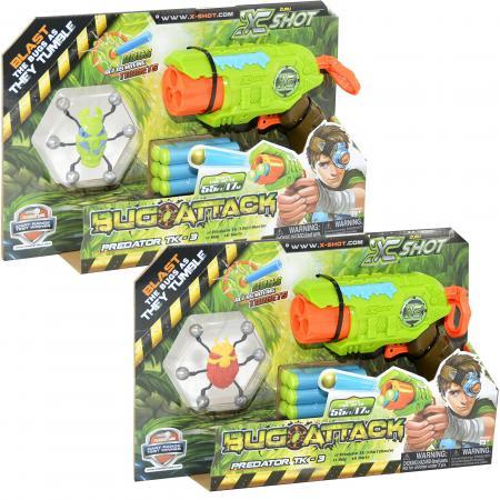 Микро Бластер X-shot с мишенями Атака Пауков (6 патронов + 1 паук-мишень) 4815 игрушечное оружие zuru x shot ружье с мишенями атака пауков
