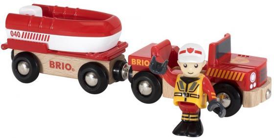 Игровой набор Brio машина с прицепом-спасательной лодкой,фигурка,26х5х9см,кор. погрузчик с вращением с магнитом блист brio