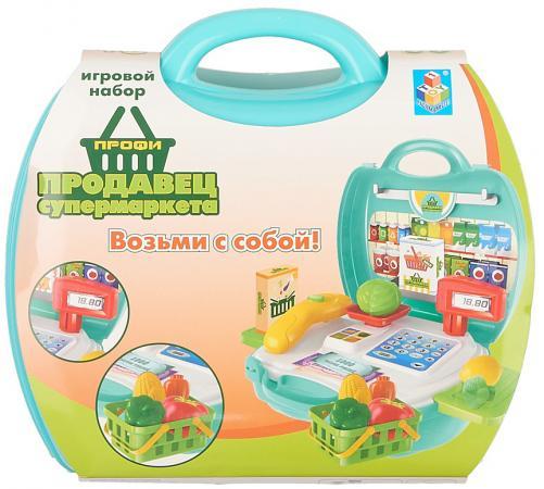 Игровой набор 1toy Профи Продавец Супермаркета,23 предмета , овощи, корзинка, 2 выдвижн,столика,на 1toy игровой набор профи малыш цвет красный голубой зеленый