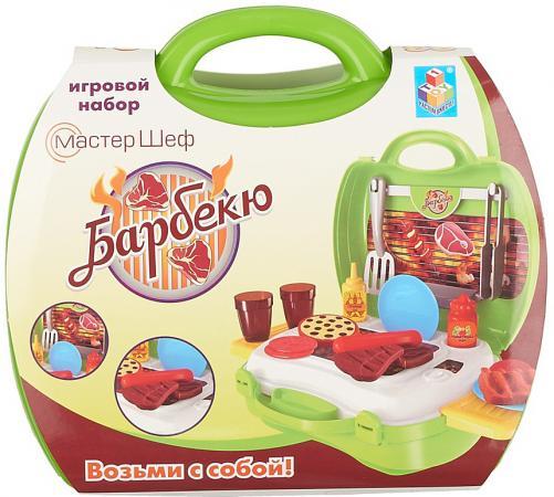 Игровой набор 1toy Мастер-Шеф Барбекю,23 предмета , посуда, 2 выдвижн,столика,наклейки (в чемоданч игрушечная посуда 1toy игровой чайный сервиз я сама 1toy
