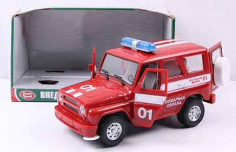Пожарная машина Play Smart инерц.свет,звук,откр.дверь УАЗ Hunter 23 см игрушка play smart газель 3221 пожарная р40526