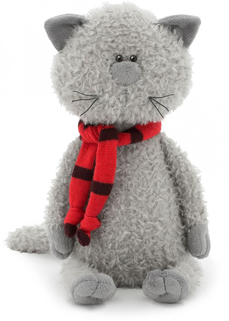 Мягкая игрушка кот ORANGE Кот Обормот в шарфике серый красный черный текстиль пластик