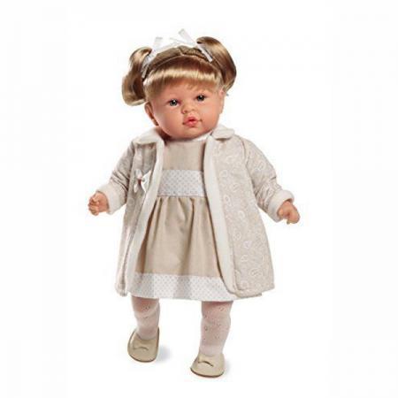 Кукла Arias Elegance 45 см, функционал - смех, в кремовом платье, пальто, колготах, туфлях