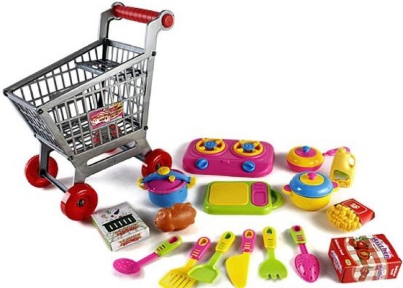 Набор Shantou Gepai Посуда и продукты в тележке, 16 предметов 2882C shantou gepai игрушка пластм касса электронная продукты сканер shantou gepai