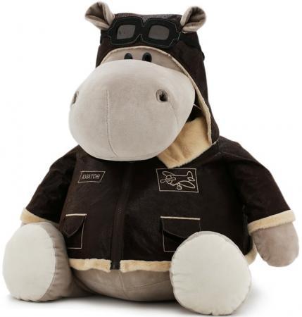 где купить Мягкая игрушка бегемотик ORANGE Авиатор 30 см серый плюш MS6010/30 по лучшей цене