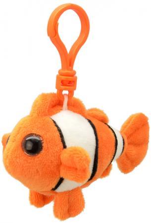 Брелок рыба Wild Planet Рыба-клоун 9 см оранжевый белый черный искусственный мех пластик K8320 морепродукты рыба