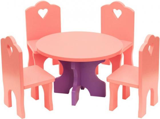 Набор мебели Краснокамская игрушка Столик с четырьмя стульчиками КМ-03 краснокамская игрушка мебель для кукол магазин с четырьмя ящичками