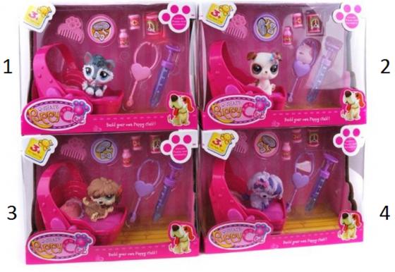 Игровой набор Shantou Gepai Puppy Club - Щенок с лежанкой и аксессуарами CL2108/9-12 игровой набор shantou gepai набор кукол 12 см с аксессуарами kl026 3