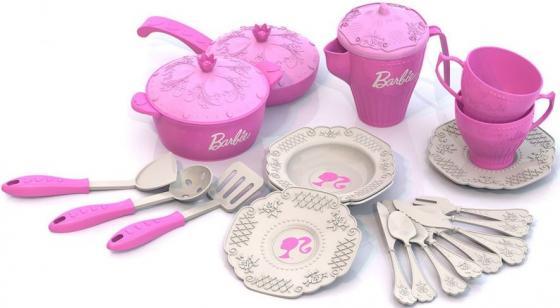 Набор посуды Нордпласт Барби, 21 предмет в сетке Н-639 639 нордпласт набор кухонной и чайной посудки барби 21 предмет нордпласт