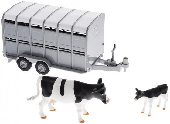 Игровой набор Tomy Трейлер для перевозки животных с коровой и теленком 3 предмета 42709 tomy прицеп для перевозки лошадей с лошадью и жеребенком с 3 лет