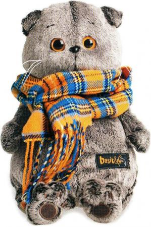 Мягкая игрушка кот BUDI BASA Басик и шарф в клеточку 30 см серый искусственный мех Ks30-002 budi basa мягкая игрушка арнольд