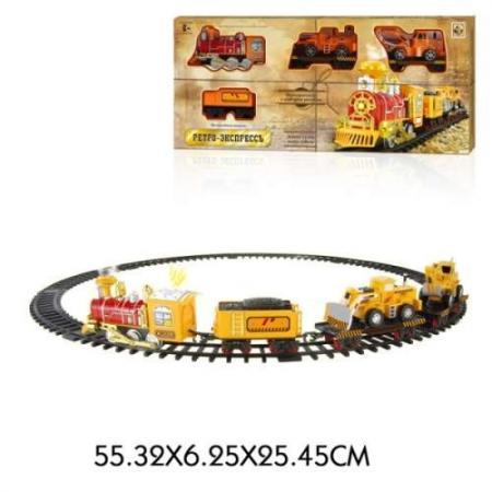 1toy ж/д Ретро Экспресс, свет,звук, дым,паровоз, 3 вагона, 12 деталей железная дорога 1toy ретро экспресс 16 дет