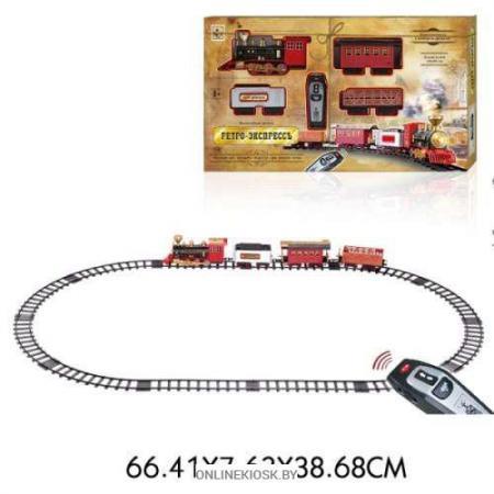 цена на 1toy ж/д Ретро Экспресс, свет,звук, дым, паровоз, 3 вагона, пульт д/у, 16 деталей, длина путей 1