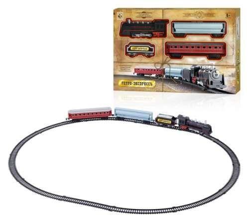 Купить 1toy ж/д Ретро Экспресс , свет, звук, паровоз, 3 вагона, 16 деталей, длина путей 85, 5х67, 5 см, Игрушки