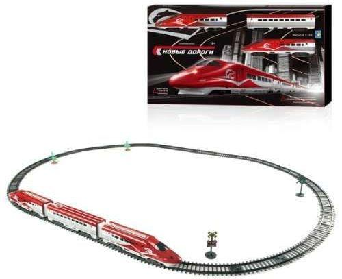 1toy ж/д Супер Экспресс, свет, звук,паровоз, 2 вагона, 63 детали, длина путей 139х93 см, движение