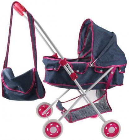 1toy коляска-люлька для куклы Красотка-Джинс,метал.рама,корзина,сумка,собр.62*35*67см,73*43*10см п