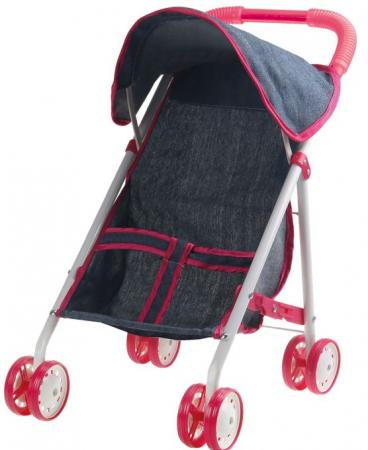 1toy коляска прогулочная с капюшоном для куклы Красотка-Джинс,метал.рама,собр.40*25*43см,пакет 67* цена