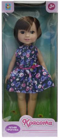 Кукла Красотка Летняя прогулка, брюн, синее платье 14х8х36 см кукла 1toy красотка летняя прогулка т10278