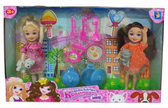 1toy Красотка mini Игр.набор из 2х кукол 13 см с посудкой и 2 питомцами,26х16 см, кор.
