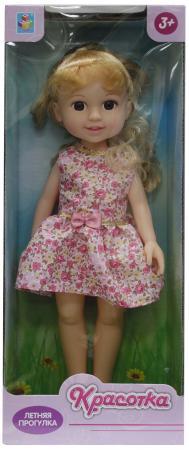 Кукла Красотка Летняя прогулка, блонд, роз платье 14х8х36 см кукла 1toy красотка летняя прогулка т10278