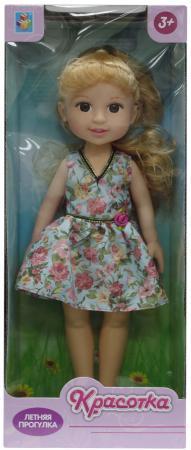 Кукла Красотка Летняя прогулка, блонд, голуб платье, 14х8х36 см кукла 1toy красотка летняя прогулка т10278