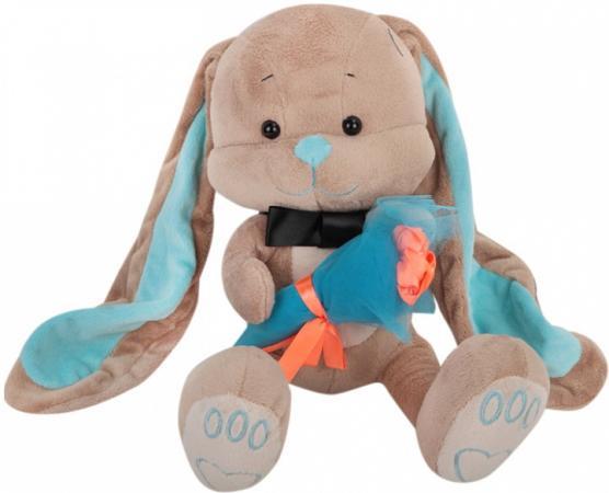 Мягкая игрушка заяц Jack Lin Зайчик Жак с букетом 25 см бежевый плюш искусственный мех пластик JL-01 rong lin