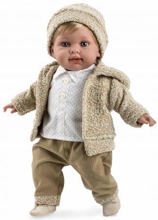 Arias ELEGANCE мягк кукла 42 см., в одежде бежев. мальчик, с соской, со звук. эфф. смех (3хLR44/AG13