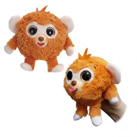 1toy Дразнюка-Zoo плюш.оранж.обезьянка,показ.язык,13см,пакет цена