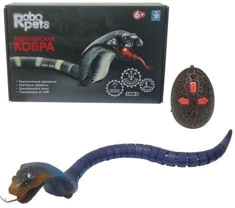1toy, Королевская кобра (синяя) на ИК управлении, 45 см 1toy робот на ик управлении 1toy robo life робо скорпион красный