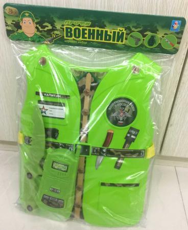 Набор 1toy костюм Профи с жилетом - Военный 39х28х4 см., 2 предмета , размер жилета 26х32*0,5 см. цена