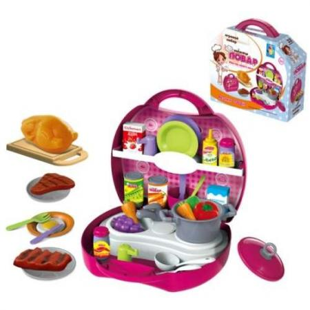 1toy Игр.наб.в чемоданчике Профи Повар,32 предмета: подставка, полочка, лопатка, поварешка, 2 вилк цена
