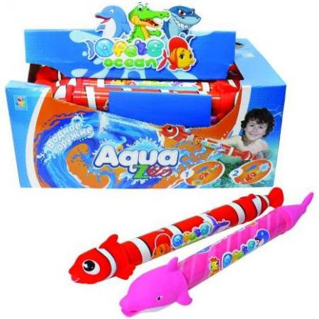 1toy Аквамания, вод.помпа в виде рыбы/дельфина, со стикером, 46 см, д/б цена