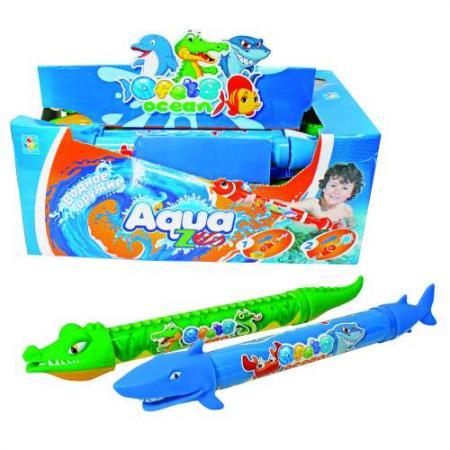 1toy Аквамания, вод.помпа в виде акулы/крокодила, со стикером, 46 см, д/б цена