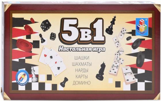 1toy Игра настольная 5в1 Шашки/шахматы/нарды/карты/домино на магните 25х13,2х3,5см настольная игра нарды шахматы нарды дорожные в ассортименте а 1