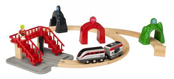 BRIO Smart Tech Ж/д набор (17 элементов - фигурка человечка, 2 вагона, 3 туннеля, лестница, элементы падающий ж д мост brio 33391