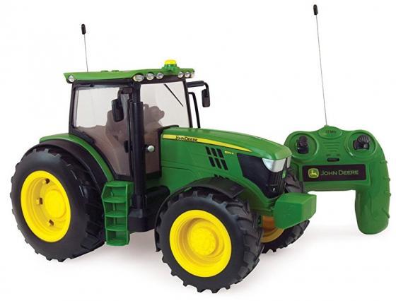 Tomy John Deere 6190R трактор 1:16 на р/у с пультом,с подсветкой и звуком,24х38х19см,кор. трактор tomy john deere зеленый 19 см с большими колесами звук свет