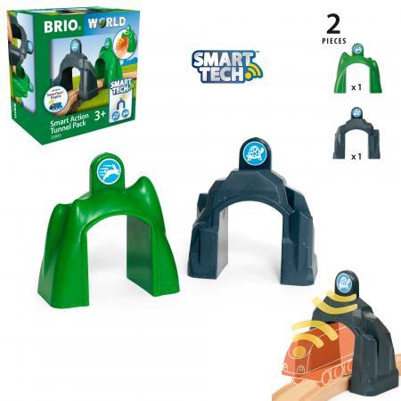 BRIO Smart Tech Набор туннелей, размер туннеля 10х5,5 см., 2 элемента, кор. 14,5х9,5х15 см. игровые наборы brio набор порт с сухогрузом и краном 4 элемента
