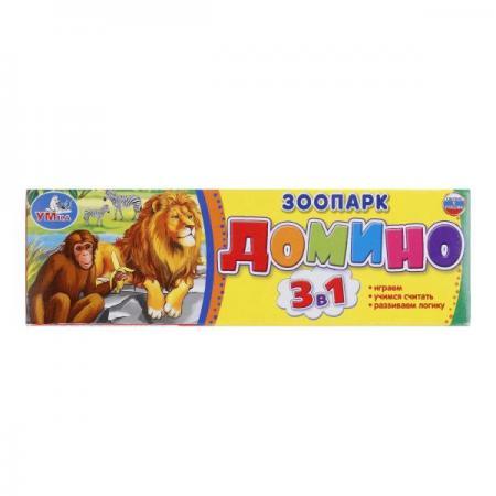 ДОМИНО ПЛАСТМАССОВОЕ УМКА ЗООПАРК 3-В-1 В КОР. в кор.100шт clever книга тося бося идёт в зоопарк 3