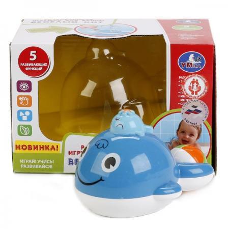 РАЗВИВАЮЩАЯ ИГРУШКА ДЛЯ ВАННЫ  УМКА ВЕСЕЛЫЙ КИТ НА БАТ. В РУСС. КОР. в кор.2*24шт развивающая игрушка play smart каталка кит вертолет разноцветный