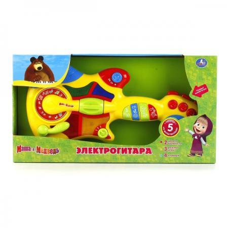 ЭЛЕКТРОГИТАРА ИГРАЕМ ВМЕСТЕМАША И МЕДВЕДЬ НА БАТ. СВЕТ+ 5 ПЕСЕН ИЗ М/Ф В РУСС. КОР. в кор.2*6шт игрушки для ванной играем вместе маша и медведь м ф маша и медведь в сетке в кор 2 25шт
