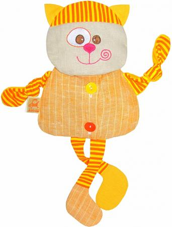 Мягкая игрушка-грелка кот МЯКИШИ Доктор Мякиш 35 см оранжевый ткань 232 мякиши игрушка грелка доктор мякиш сова