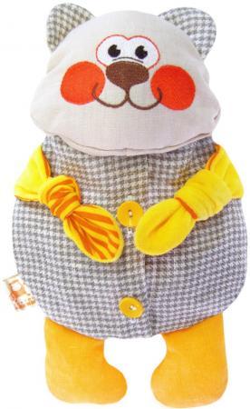 Мягкая игрушка-грелка медведь МЯКИШИ Доктор Мякиш-Мишутка 31 см серый желтый текстиль 178 мякиши игрушка грелка доктор мякиш пингвин