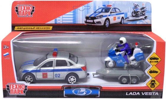 ТМ ТЕХНОПАРК. МАШИНА МЕТАЛЛ. LADA VESTA ПОЛИЦИЯ 12СМ, ИНЕРЦ.+ МОТОЦИКЛ НА ПРИЦЕПЕ В КОР.в кор.2*12шт игрушка технопарк lada vesta полиция мотоцикл sb 17 56wb