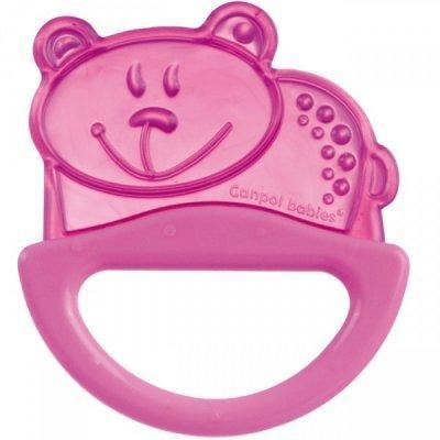 Погремушка с эластичным прорезывателем Canpol арт. 13/107, 0+ мес., цвет розовый, форма мишка