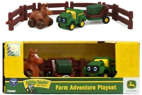 Игровой набор Tomy Приключения трактора Джонни и лошади на ферме 9 предметов 37722-2 tomy tomy игровой набор поезд динозавров фигурки бадди и кондуктор с вагоном