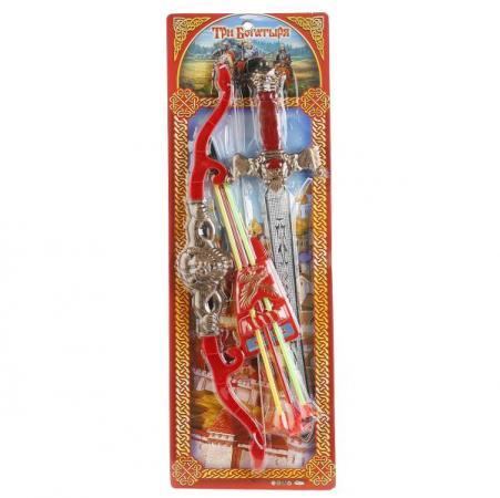 НАБОР ОРУЖИЯ ИГРАЕМ ВМЕСТЕ ТРИ БОГАТЫРЯ (ЛУК СО СТРЕЛАМИ + МЕЧ) НА БЛИСТЕРЕ (РУСС.УП) в кор.2*30шт shenzhen ниндзя меч лук со стрелами нунчаки ninja rz1133 к37196